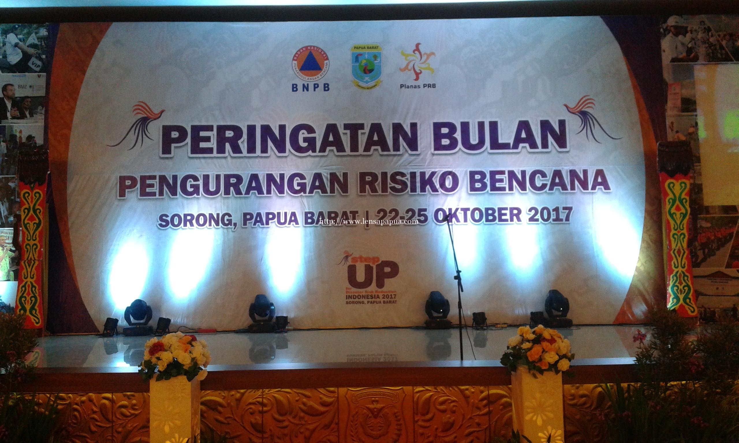 Peringatan Bulan Pengurangan Resiko Bencana di Aimas Convention Centre, Kabupaten Sorong. Dok/red