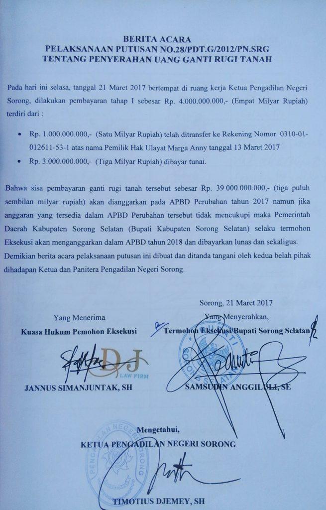 Hasil keputusan mediasi antara Pemkab Sorong Selatan dan Marga Ani tertanggal 21 Maret 2017. Dok/red