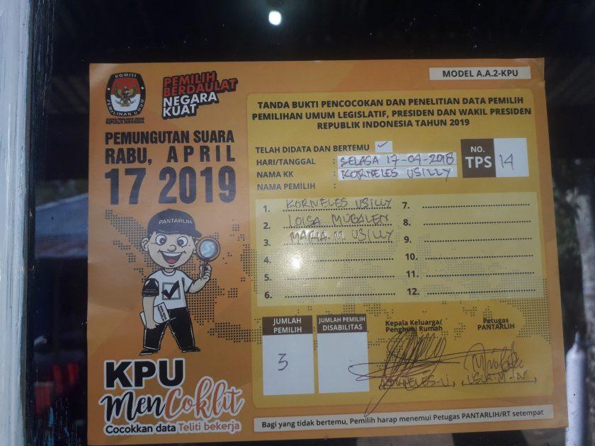 Stiker bagi pemilih yang sudah didata oleh KPU. Dok/red