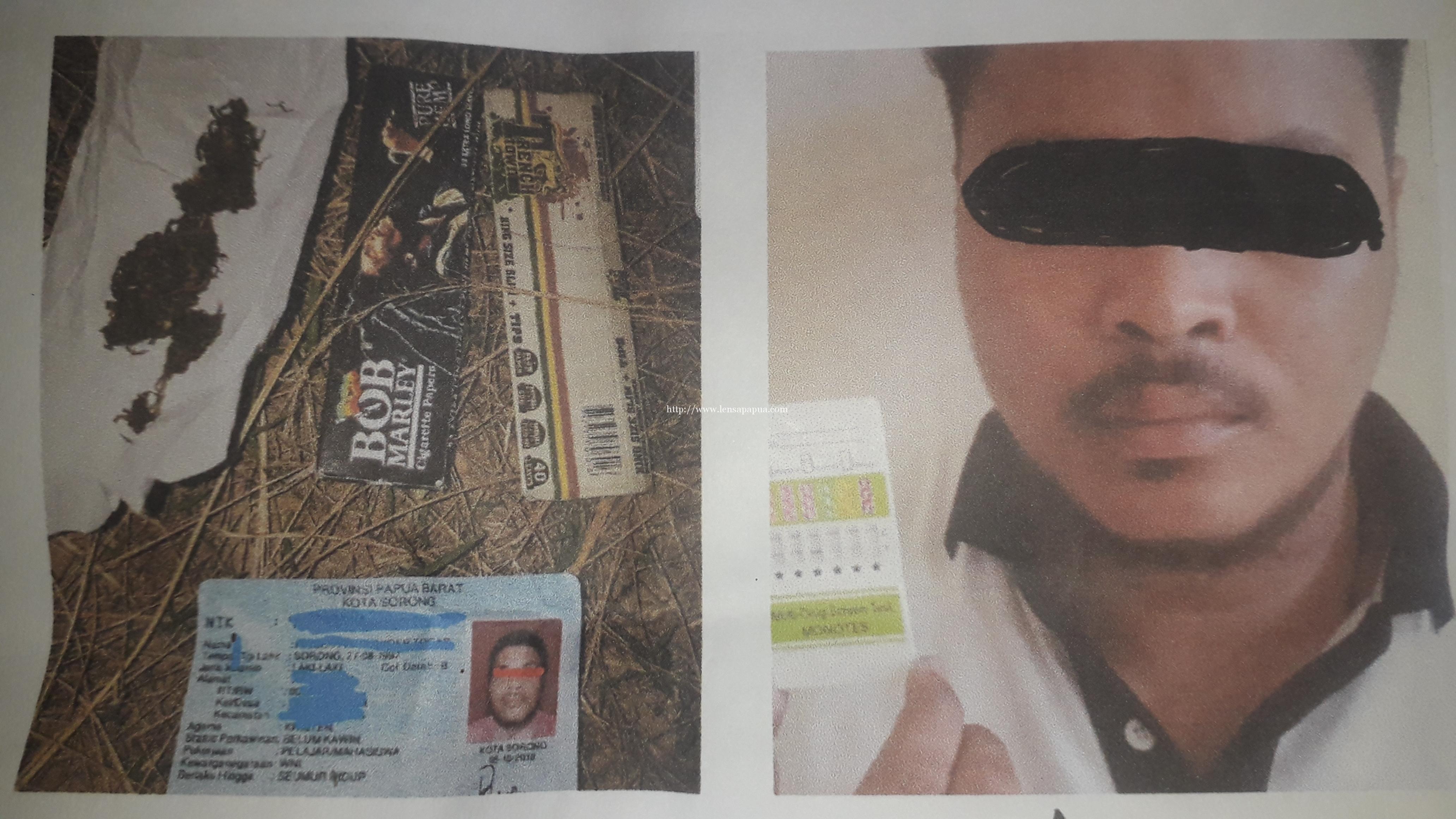 Tersangka RAT warga Kota Soring yang tertangkap saat melakukan transaksi ganja di kawasan SMPN 1 Kota Sorong. Dok/resoq