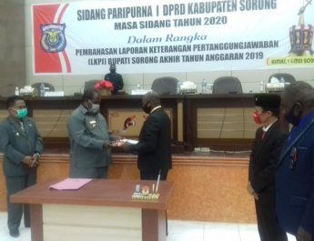 Penutupan Sidang Paripurna I terkait LKPJ Bupati Sorong Tahun Anggaran 2019. dok/sorongkab.go.id